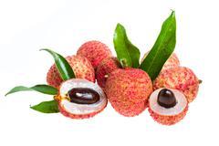 isolated fresh lychees fruit - stock photo