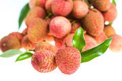 Isolated fresh lychees fruit Stock Photos