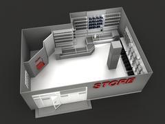 Illustration of automobile store - minimarket - stock illustration