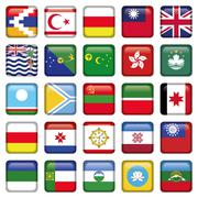 Set of Asian Squared Flags - stock illustration