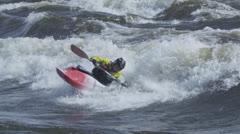 Extreme White Water Kayaking Stock Footage