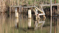 Wooden pontoon Stock Footage