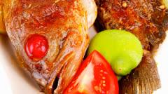 Savory : roast golden fish Stock Footage