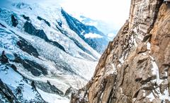 view of the alps from aiguille du midi mountain. - stock photo
