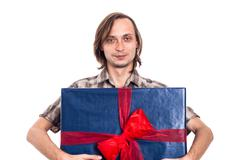 Man holding big gift box Stock Photos