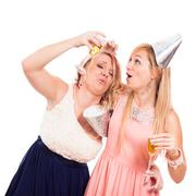 funny drunken girls celebrate - stock photo