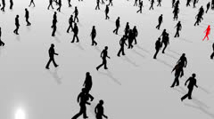 Anonymous crowd high angle silhouettes - stock footage