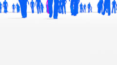 Anonymous crowd low angle blue with one pink Stock Footage