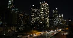 Ultra HD 4K Night Downtown Los Angeles, LA, California, Rush Hour Freeway City Stock Footage