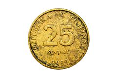 Old 25 Centavo Philippine Coins Isolated Stock Photos