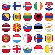 European Buttons Round Flags - stock illustration