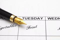 weekly menu planner - stock photo