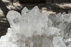 quartz crystals in sunlight - stock photo