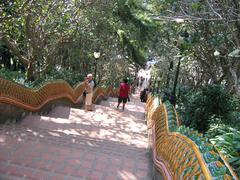 Stairs Wat Doi Sethep in Thailand - stock photo