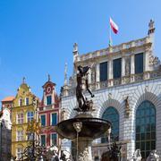 the neptune fountain, gdansk - stock photo