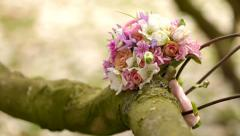 Bridal bouquet in tree during wedding - stock footage
