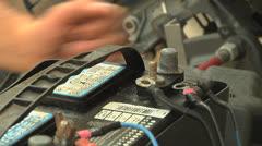 12V Battery negative lug attach Stock Footage