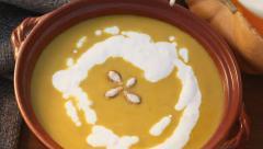 Pumpkin soup Stock Footage