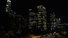 Rush Hour on Freeway USA, Night Downtown Los Angeles, LA Commuters, California - stock footage