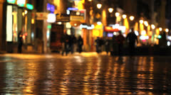 Night city, wet street, colored lights - stock footage