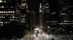Night Car Traffic, Commuters, Downtown Los Angeles, LA, California, Light Stock Footage