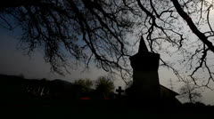 Night over christian church and cemetery Stock Footage