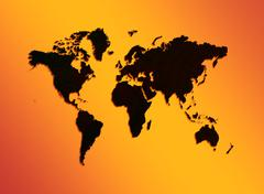 Maailman kartan oranssilla pohjalla Kuvituskuvat
