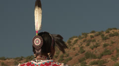 Native American Powwow Dancer - Female - Feather int the Wind - stock footage