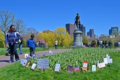 Boston - apr 21: support flags near washington monument in public garden Stock Photos
