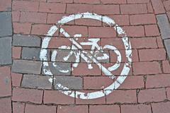 no bike sign on red brick, modern security - stock photo
