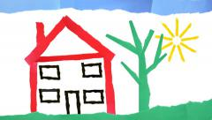 Childish house made from paper strips. Stock Footage