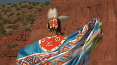 Native American Powwow Dancer - Female - Shawl 01 Stock Footage