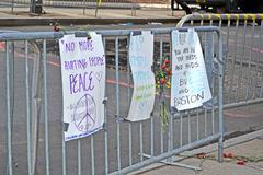 Boston - apr 20: memorial set up on boylston street in boston, usa on april 2 Stock Photos