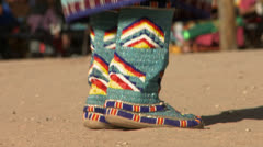 Native American Powwow Dancer Male - Moccasins Close-up Stock Footage
