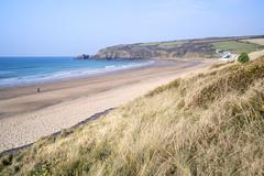 expanse of golden beach at praa sands cornwall england - stock photo