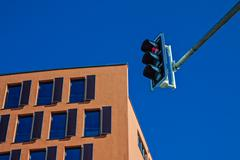 house and traffic lights - stock photo