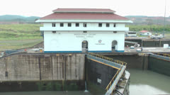 Miraflores locks in the Panama Canal Stock Footage