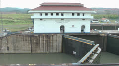 OGates opening for the access of the a permitted ship through the Panama Canal Stock Footage