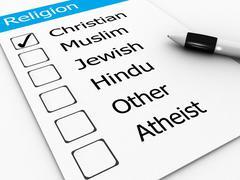 Major world religions - christian, muslim, jewish, hindu, atheist, other Stock Illustration
