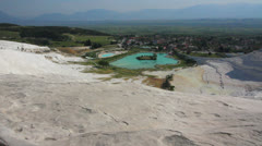 Panorama of pamukkale turkey Stock Footage
