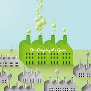 Green Company and Factory abstract Background Stock Illustration
