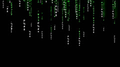 Stock Video Footage of Data Raining Down Matrix Style ALPHA