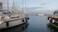 Marina in Naples with Mount Vesuvio Stock Footage