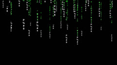 Data Raining Matrix Style with Black Backing And Lights Stock Footage