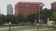 Stock Video Footage of Dealy Plaza, School Book Depository & grassy knoll
