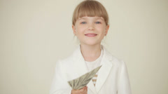 Little businesslady with money Stock Footage