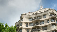 La pedrera gaudi architecture barcelona spain Stock Footage