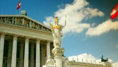 View of Parliament in Vienna Austria in the morning, time lapse view Stock Footage