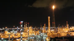 Night scene of petrochemical plant - stock footage