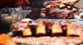 Beef Ribs and Tri - Tip On Barbecue Grill Footage